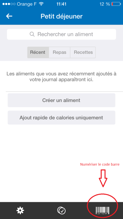 Intégrer informations my fitness pal